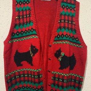 Vintage Ugly Christmas Puppies Cardigan Vest